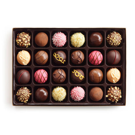 Mother's Day Assorted Chocolate Truffles, Orchid Ribbon, 24 pc.