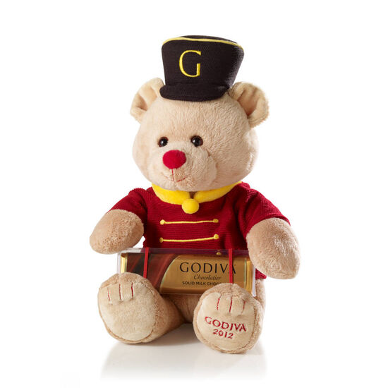 Drummer Bear Gund® Plush with Solid Milk Chocolate Bar image number null