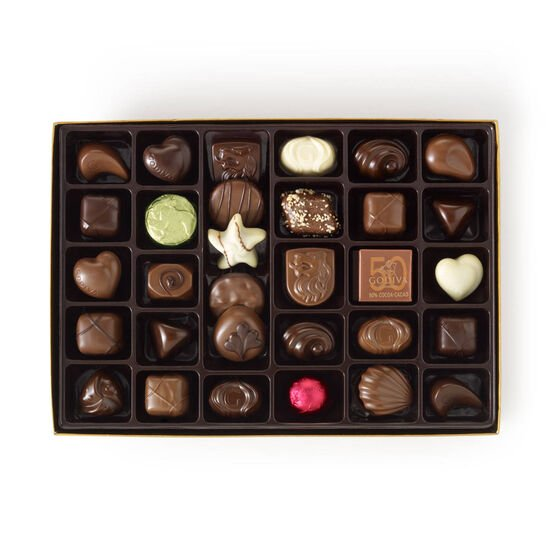 Assorted Chocolate Gold Gift Box, Personalized Ivory Ribbon, 70 pc. image number null