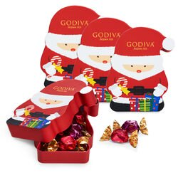Santa Box with G Cube Chocolate Truffles, Set of 4, 8 pc. each