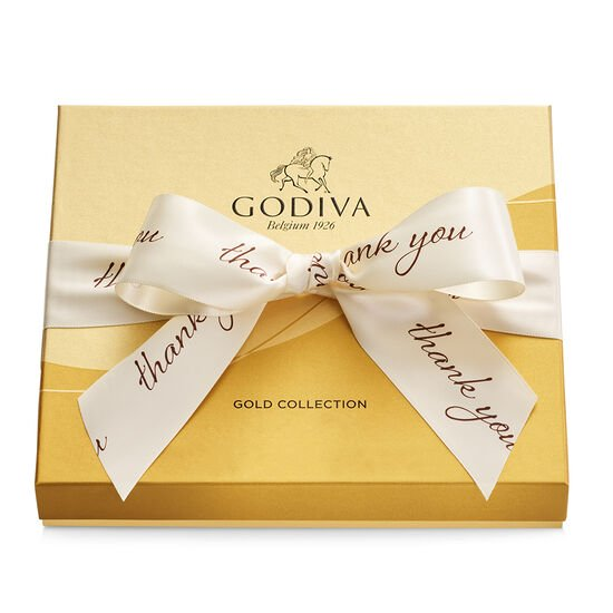 Assorted Chocolate Gold Gift Box, Thank You Ribbon, 19 pc. image number null