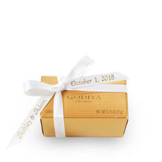 Assorted Chocolate Gold Favor, Personalized White Ribbon, 2 pc.