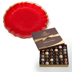 Red Platter with Signature Truffle Gift Box, 36 pc.