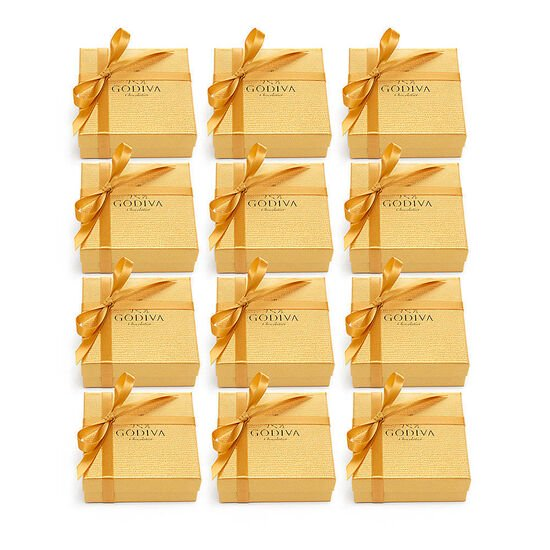 Assorted Chocolate Gold Favor, Gold Ribbon, Set of 12, 4 pc. each image number null