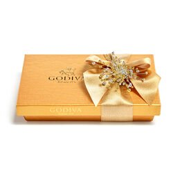 Assorted Chocolate Gold Gift Box, Gold Ribbon with Pearl Cluster, 8 pc.