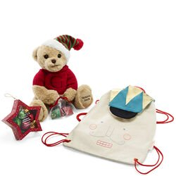 Nutcracker Backpack with Holiday Plush Bear and Star Ornament