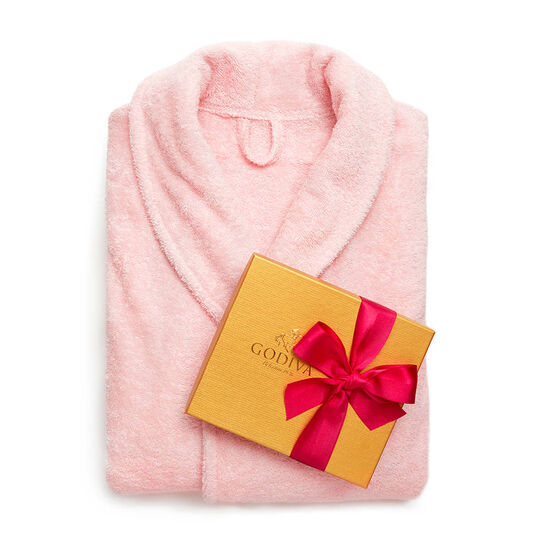 Pink Turkish Cotton Robe & Assorted Chocolate Gold Gift Box, Spring Ribbon, 19 pc. image number null