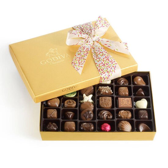 Assorted Chocolate Gold Gift Box, Celebration Ribbon, 36 pc. image number null