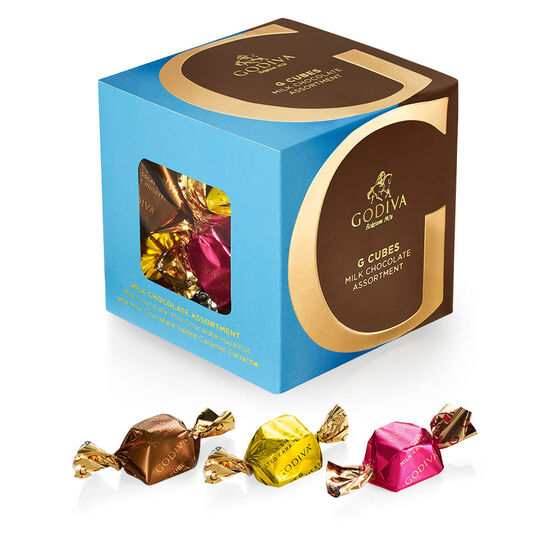 Godiva Chocolate Candy Bowl with Milk Assorted & Dark Assorted G Cube Truffles image number null