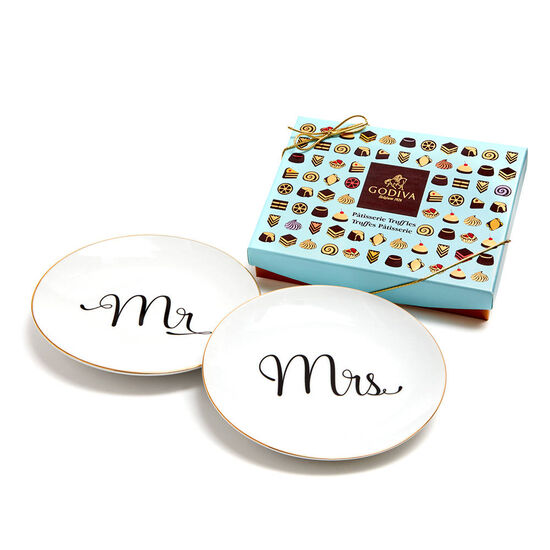 Mr & Mrs Dessert Plates with Patisserie Dessert Chocolate Truffles, 12 pc. image number null