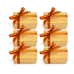 Assorted Chocolate Gold Favor, Orange Ribbon, Set of 6, 2 pc.