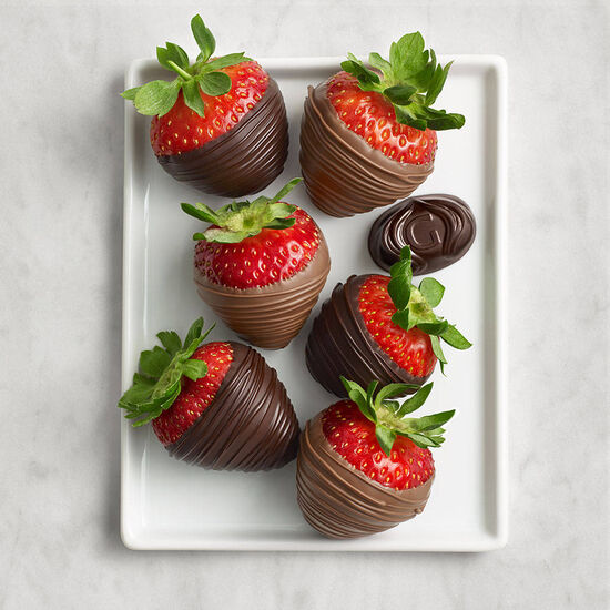 Milk & Dark Chocolate Covered Strawberries, Half Dozen  image number null
