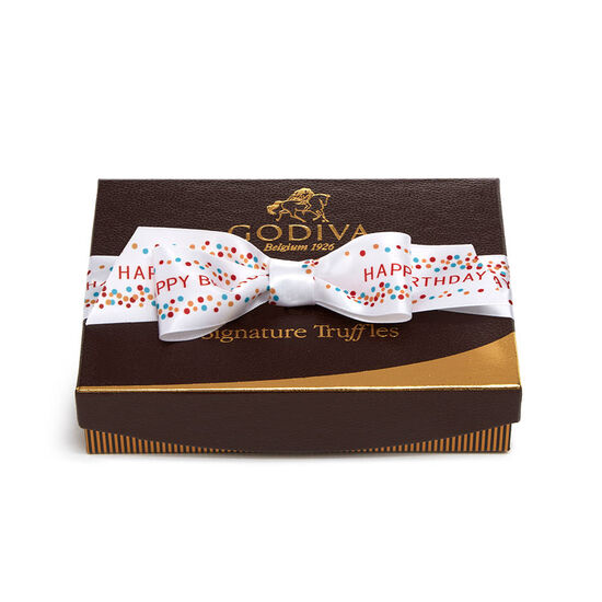 Signature Truffles Gift Box, Happy Birthday Ribbon, 12 pc. image number null