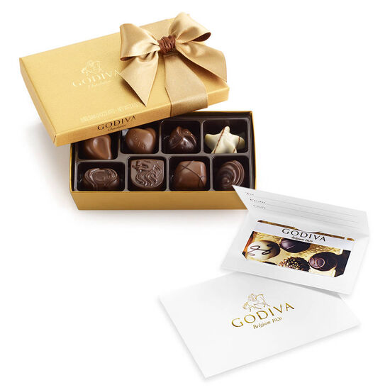 $100 Gift Card & Assorted Chocolate Gold Gift Box, 8 pc. image number null
