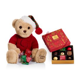 2019 Christmas Plush Bear with Assorted Chocolate Holiday Gift Box, 9 pc.