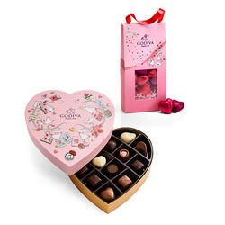 Valentine's Day Heart Chocolate Gift Box with Foil Chocolate Heart Pouch