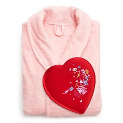 Pink Robe with Valentine's Day Fabric Heart Chocolate Gift Box, 14 pc.