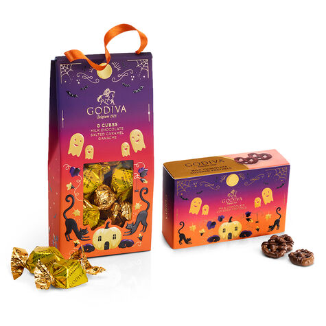 Halloween G Cube Chocolate Truffles Pouch and Mini Milk Pretzels