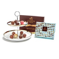 Tiered Marbleized  Pedestal with Signature and Patisserie Truffles