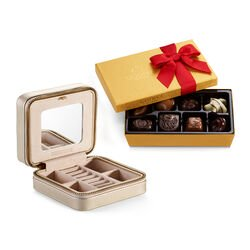 Leather Travel Jewelry Case with Assorted Chocolate Gold Gift Box, Valentine's Day Ribbon, 8 pc.