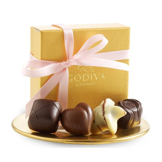 Assorted Chocolate Gold Favor, Pink Ribbon, 4 pc. image number null