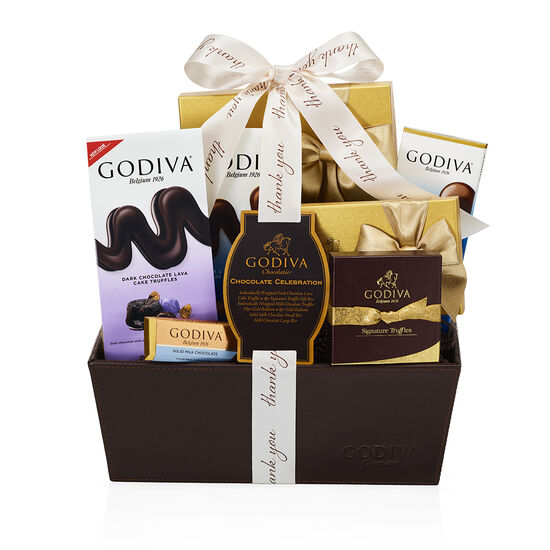 Chocolate Celebration Gift Basket, Thank You Ribbon image number null