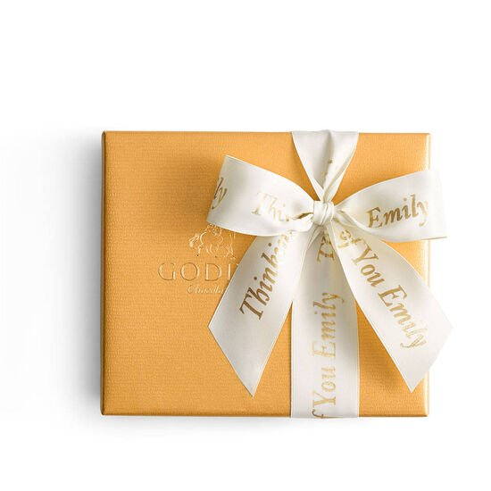 Assorted Chocolate Gold Gift Box, Personalized Ivory Ribbon, 19 pc. image number null
