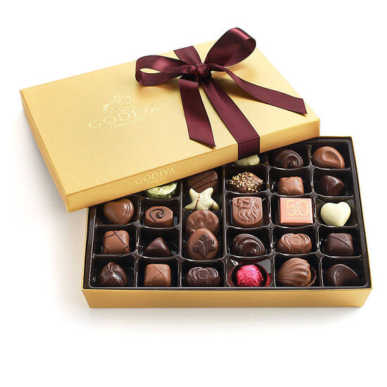 Assorted Chocolate Gold Gift Box, Wine Ribbon, 36 pc. image number null