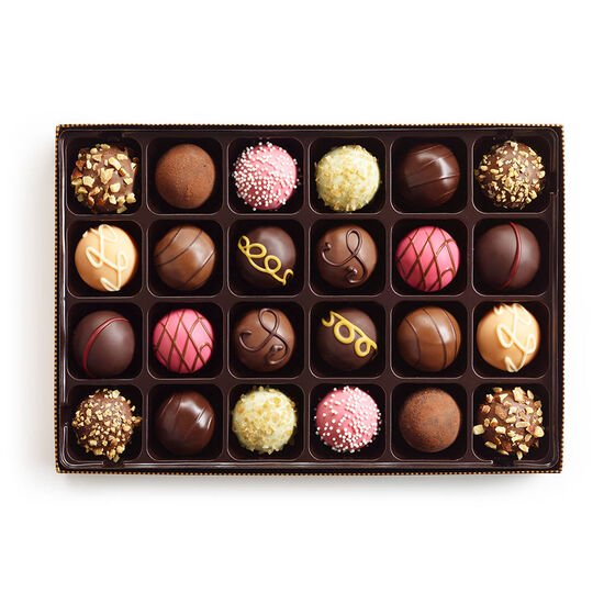 Signature Truffles Gift Box, Gold and Brown Ribbon, 24 pc. image number null