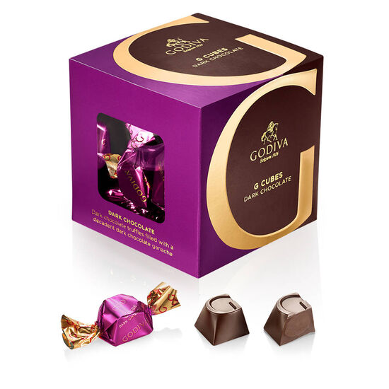 Milk and Dark Chocolate Favorites G Cube Box, Gold Ribbon image number null