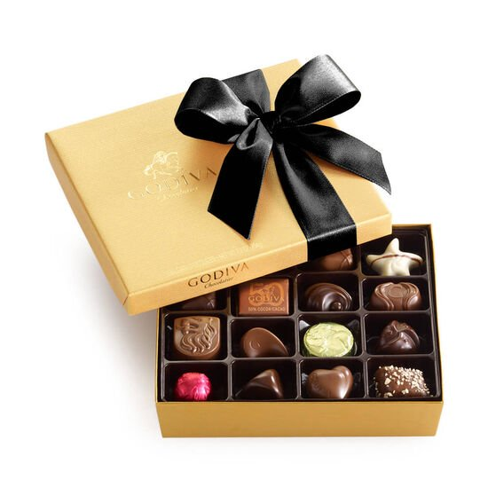 Assorted Chocolate Gold Gift Box, Black Ribbon, 19 pc. image number null