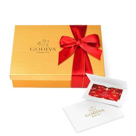 $100 Holiday Gift Card & Assorted Chocolate Gold Gift Box, Red Ribbon, 70 pc.