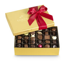 Assorted Chocolate Gold Gift Box, Holiday Ribbon, 70 pc.