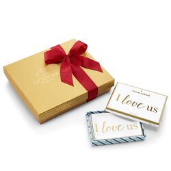 I Love Us Tray with Assorted Chocolate Gold Gift Box, Red Ribbon, 19 pc.