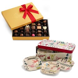 12 Days of Christmas Plate Set with Assorted Chocolate Gold Gift Box, 36 pc.