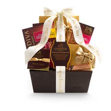 Chocolate Celebration Gift Basket, Personalized Ivory Ribbon
