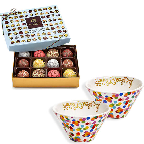 Happy Everything Bowls, Set of 2, with Patisserie Truffles, 12 pc image number null