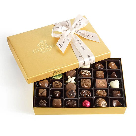 Assorted Chocolate Gold Gift Box, Thank You Ribbon, 36 pc. image number null
