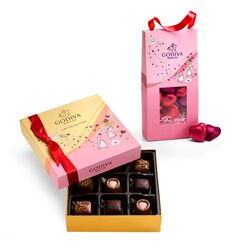 Valentine's Day Assorted Chocolate Gift Box with Foil Chocolate Heart Pouch