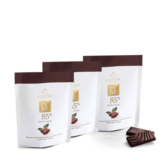 Pure 85% Distinctly Smooth Dark Chocolate and Coffee Mini Bars, Set of 3 image number null