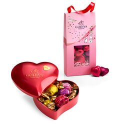 Valentine's Day Heart Tin with Foil Chocolate Heart Pouch
