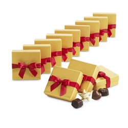 Assorted Chocolate Gold Favor, Red Ribbon, Set of 12, 4 pc. each