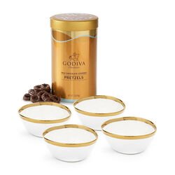 Set of 4 Gold & White Trim Bowls with Milk Chocolate Pretzel Canister, 1 lb.