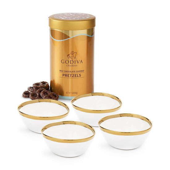 Set of 4 Gold & White Trim Bowls with Milk Chocolate Pretzel Canister, 1 lb. image number null