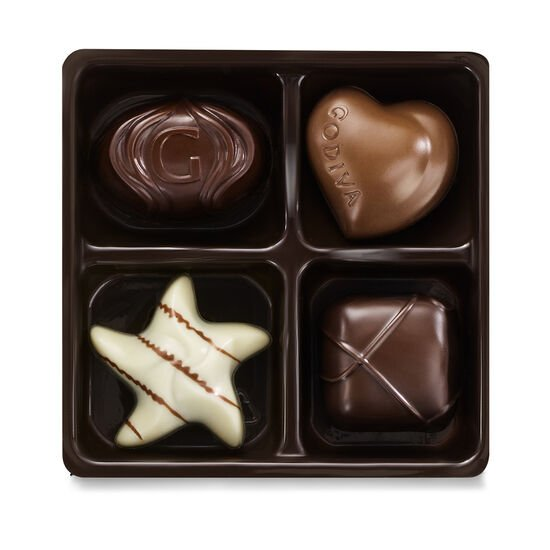 Assorted Chocolate Gold Favor, Gold Ribbon, 4 pc. image number null