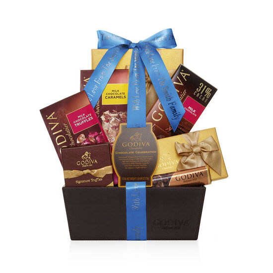Chocolate Celebration Gift Basket, Personalized Royal Blue Ribbon image number null