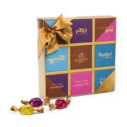 Thank You Sentiment Box, Gold Ribbon, 9 pcs