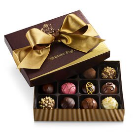 Signature Chocolate Truffles Gift Box, Gold and Brown Ribbon, 12 pc.
