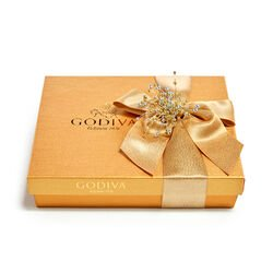 Assorted Chocolate Gold Gift Box, Gold Ribbon with Pearl Cluster, 19 pc.