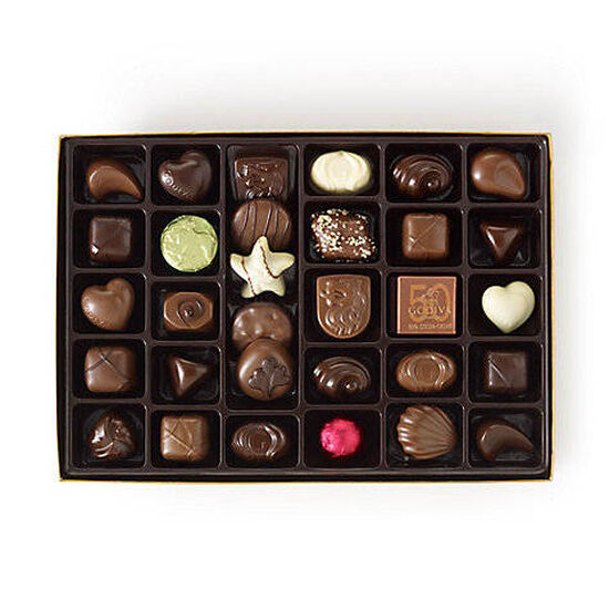 Assorted Chocolate Gold Gift Box, Personalized Purple Ribbon, 70 pc. image number null